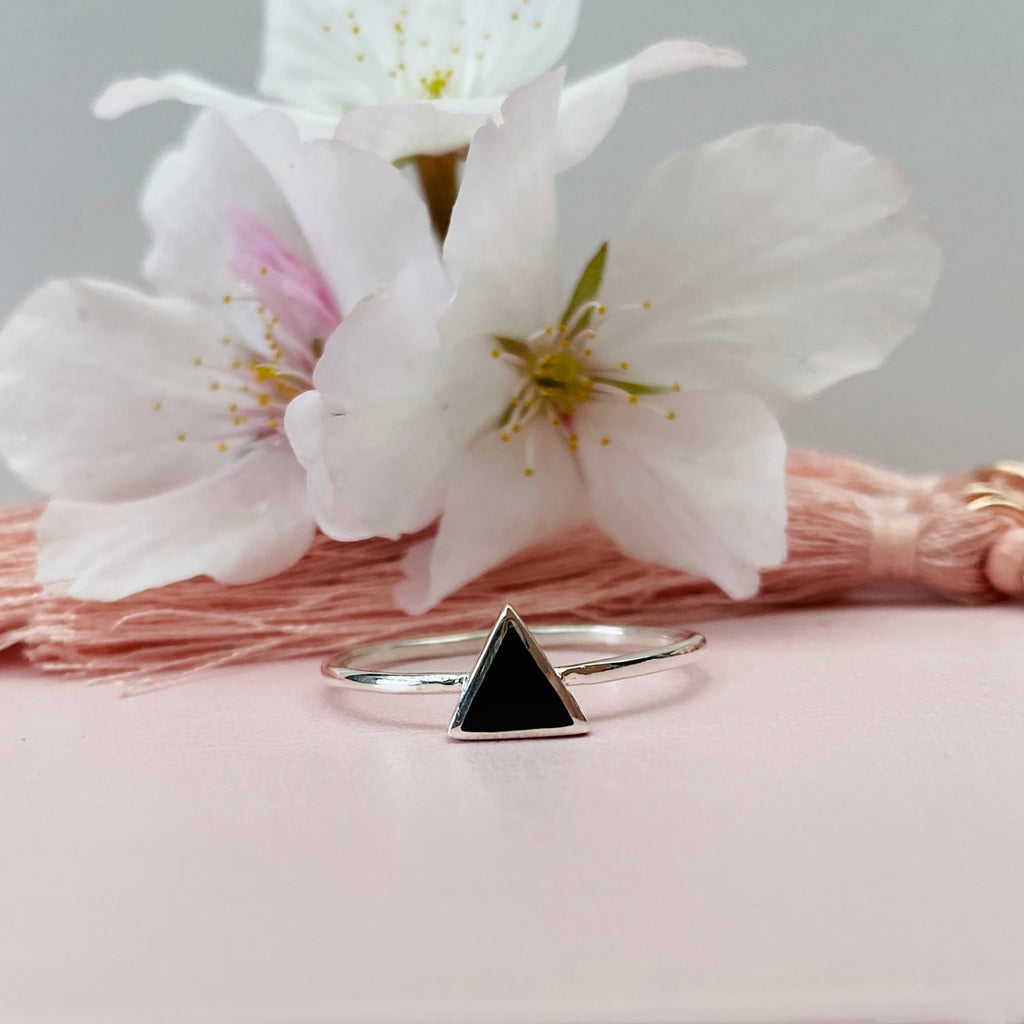 Sterling Silver Black Triangle Ring
