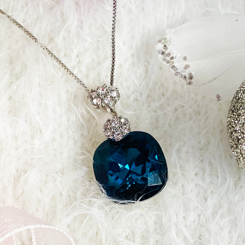 Deep Aqua Crystal Platinum Plated Necklace