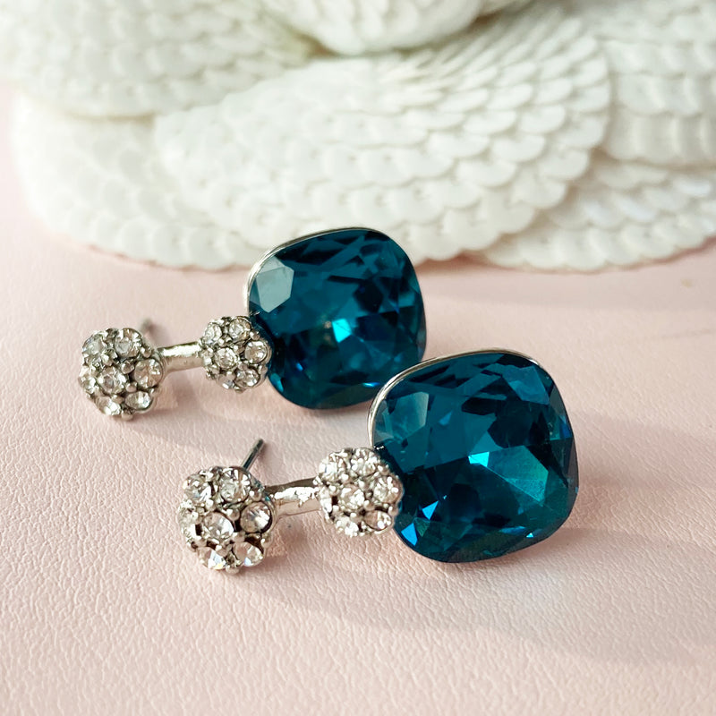 Aqua Blue Crystal Platinum Plated Earrings
