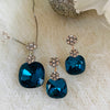 Deep Aqua Crystal Platinum Plated Set