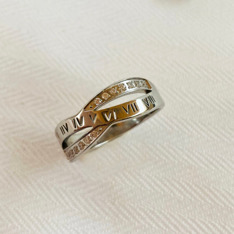 Stainless Steel Roman Numeral Cross Over Ring