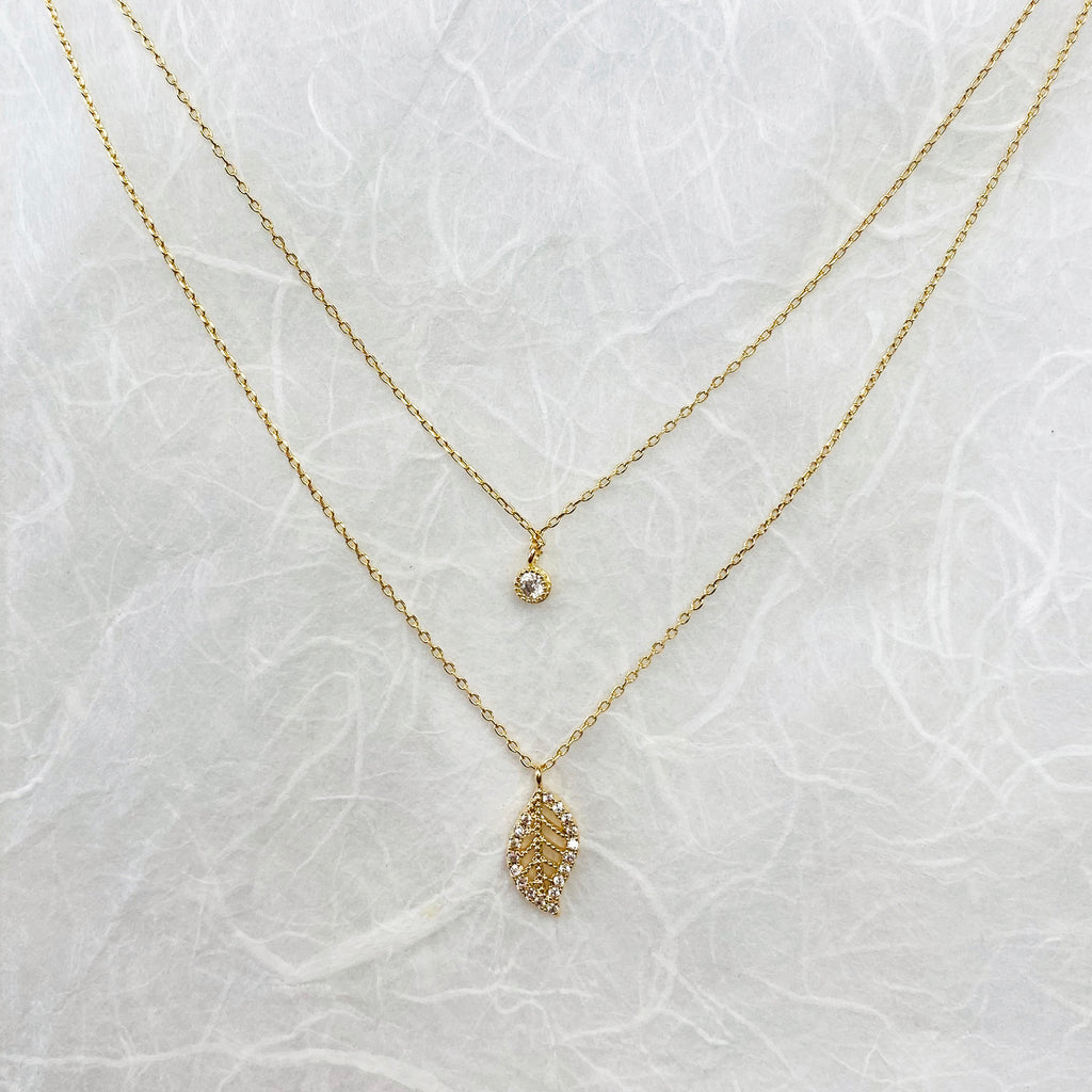 Gold Plated Layering Leaf Necklace