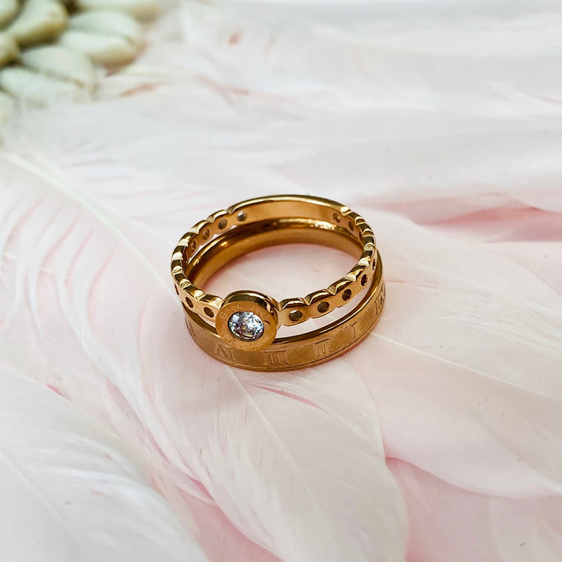 Stainless Steel Rose Gold Plated Duo Rings