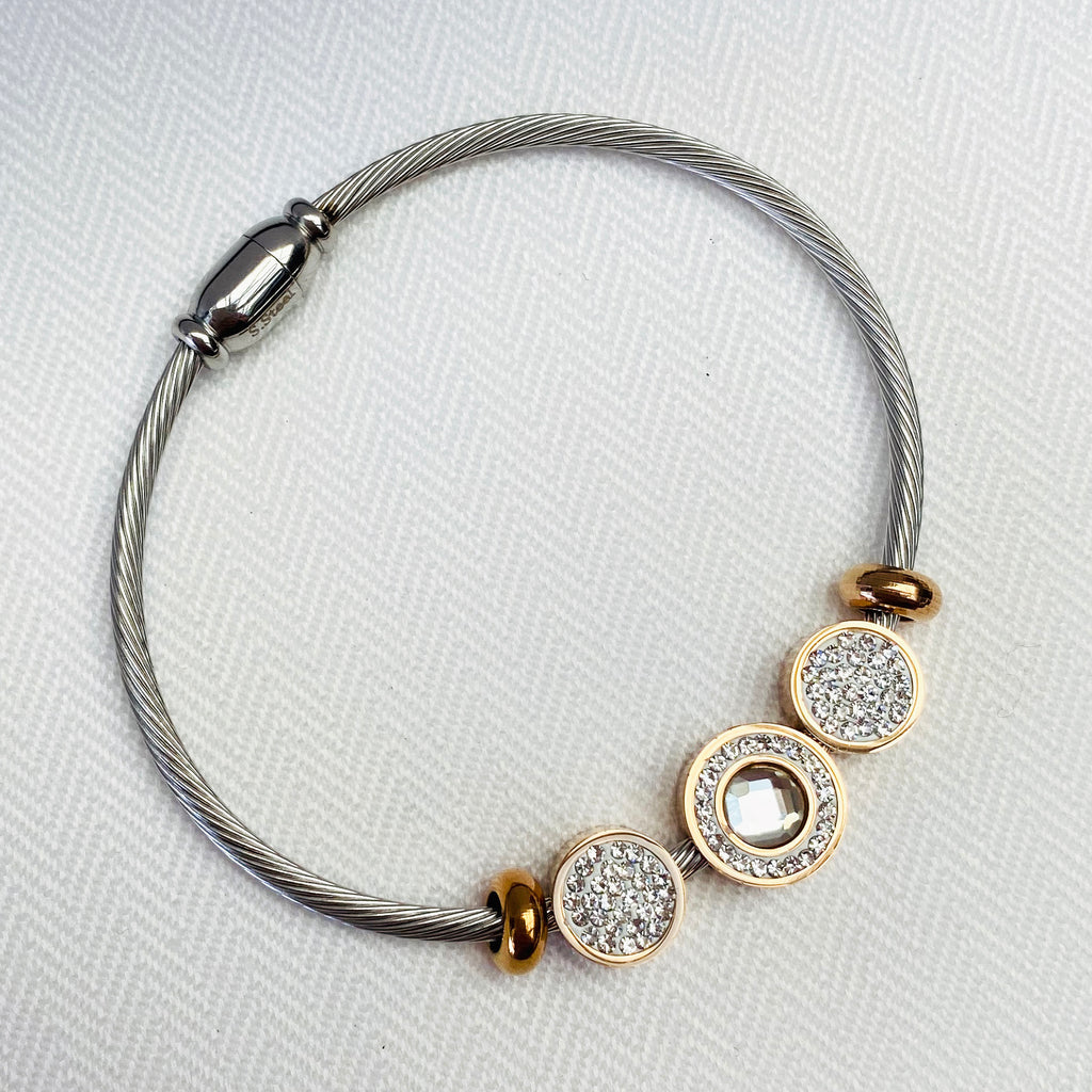 Stainless Steel Bangle with Rose Gold and Cubic Zirconia Features