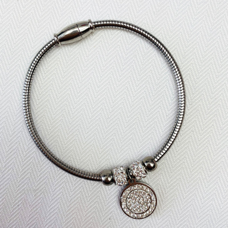 Stainless Steel Silver Bangle with Crystal Charm