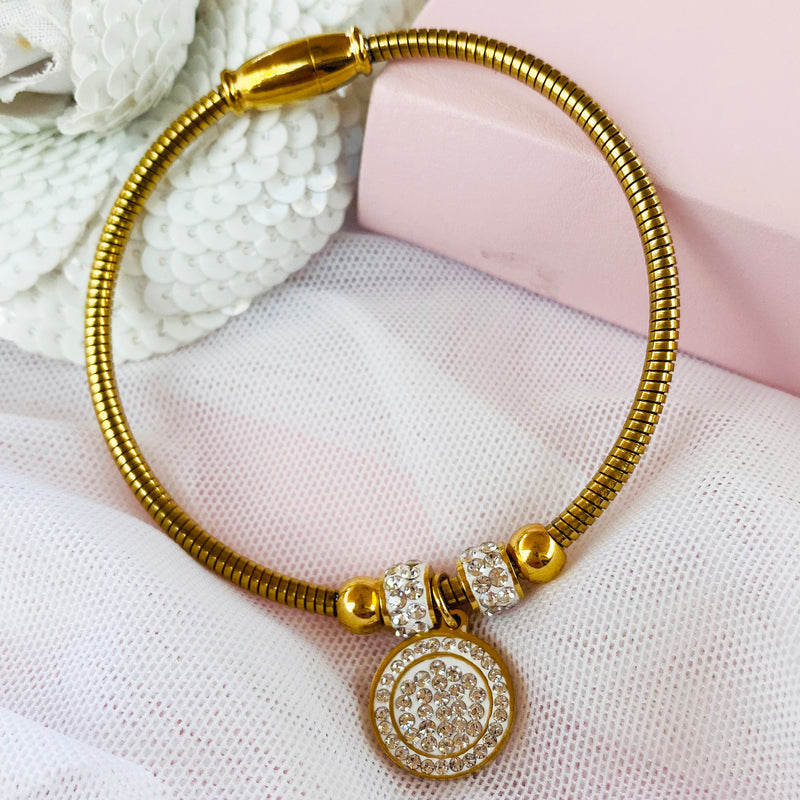 Stainless Steel Gold Bangle with Crystal Charm