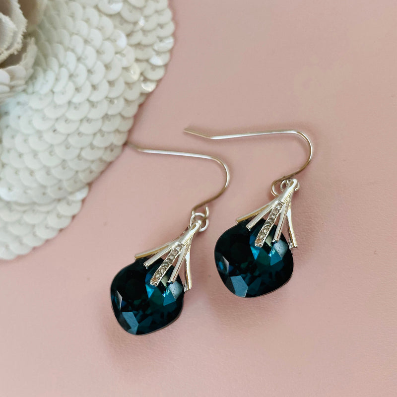 Dark Blue Platinum Plated Crystal Earrings