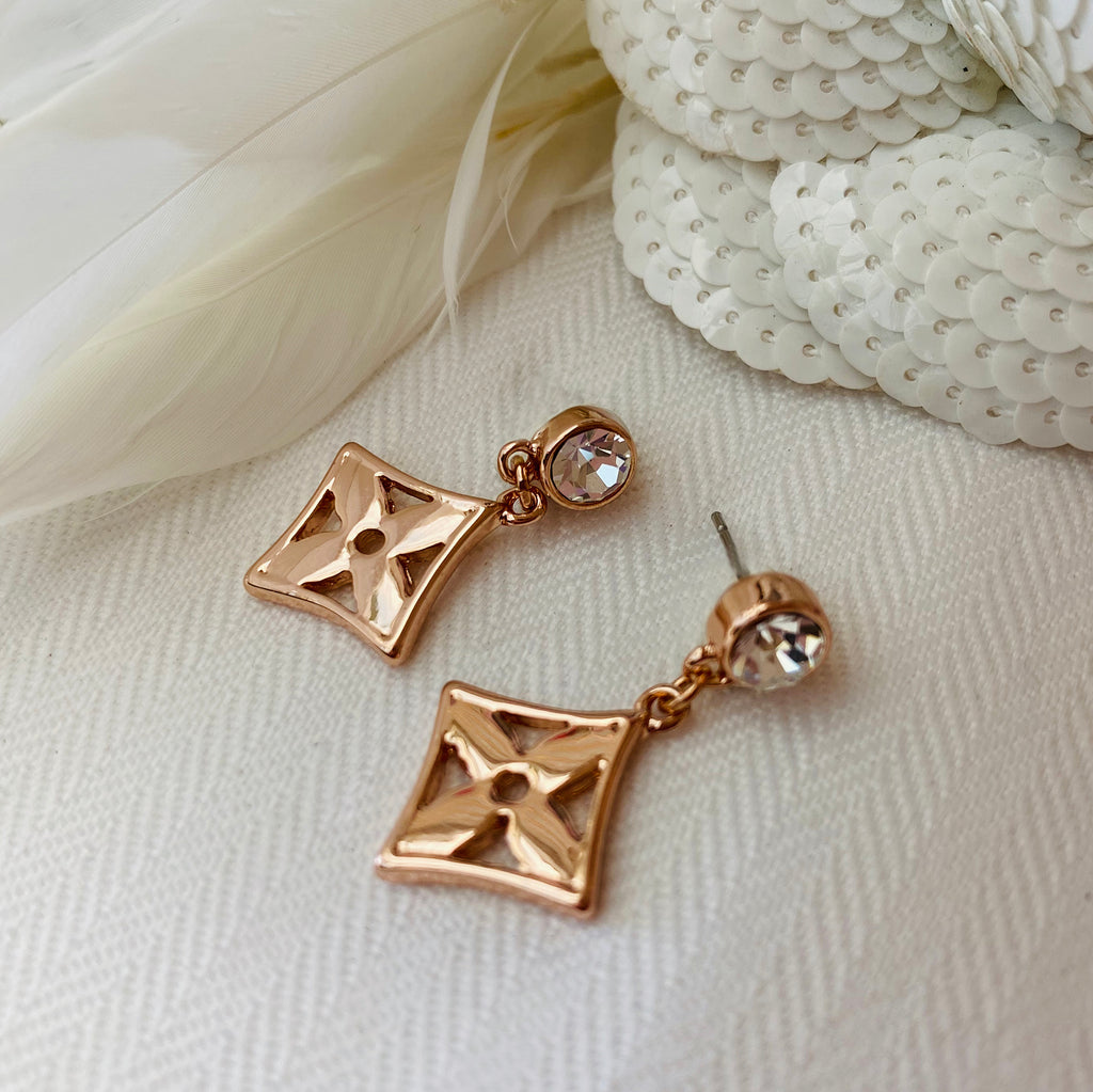 Rose Gold Platinum Plated Diamond Shaped Earrings