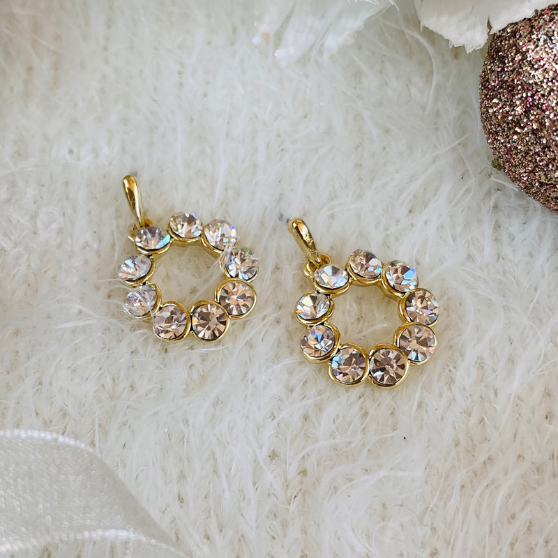 Gold Plated Cubic Zirconia Circle Earrings
