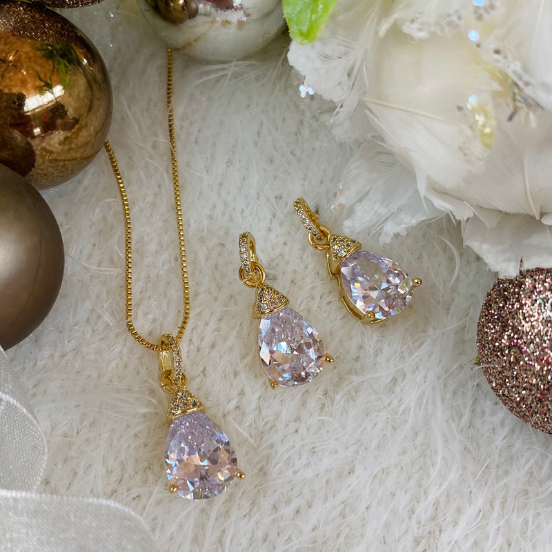 Gold Cubic Zirconia Pendant & Earring Set