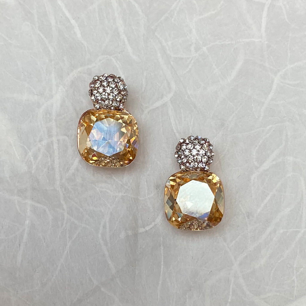 Platinum Plated Citrine Crystal Earrings