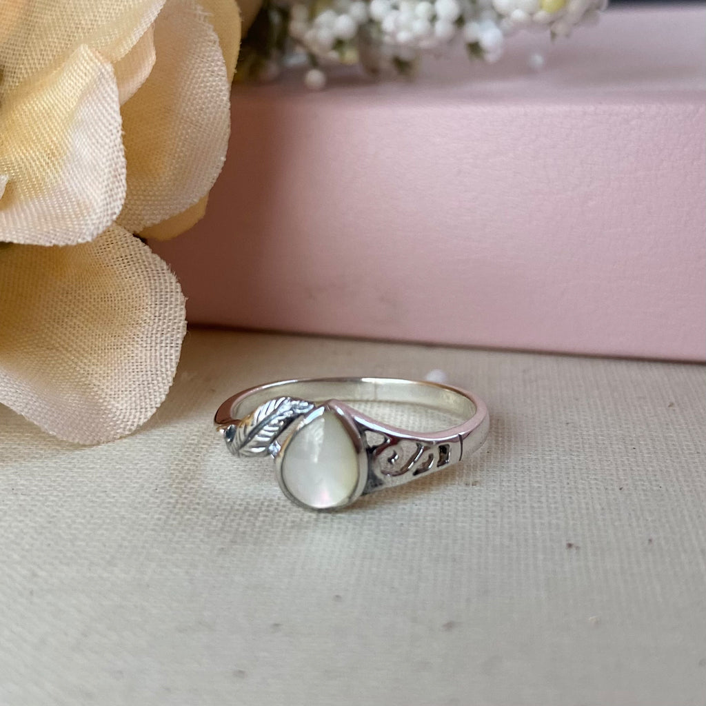 Sterling Silver Ring with Pear Shaped Stone