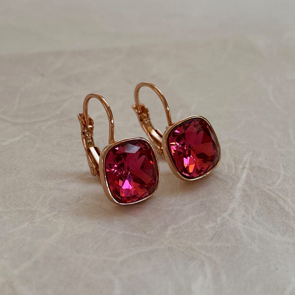 Rose Gold Platinum Plated Pink Earrings