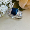 Sapphire Crystal & Clear Cubic Zirconia Stainless Steel Ring