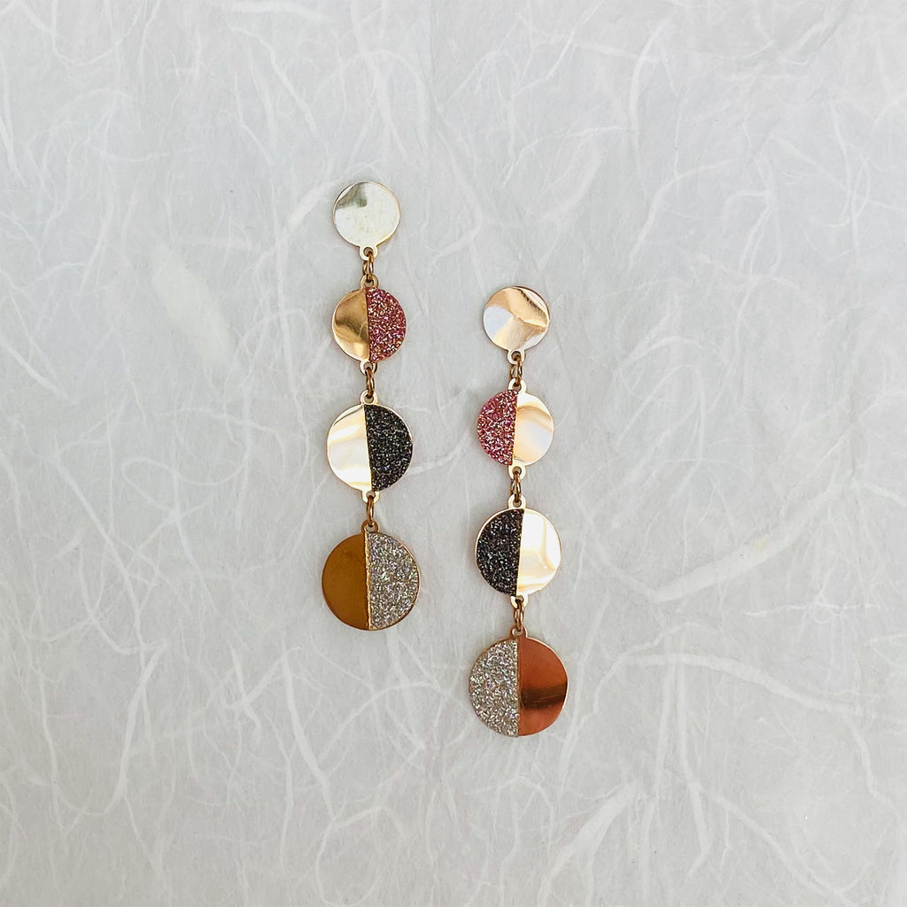 Rose Gold Tri Colour Stainless Steel Earrings