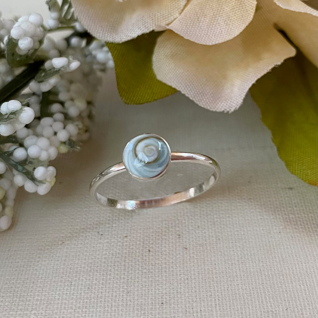 Sterling Silver Round Shiva Shell Ring