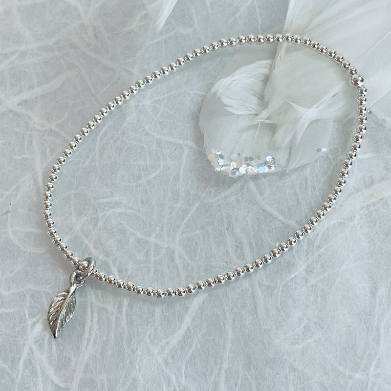 Sterling Silver Bracelet with Leaf Charm