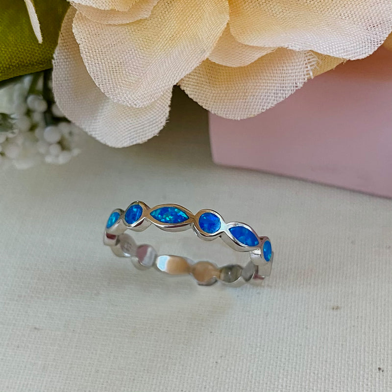 Sterling Silver Aqua Gemstone Ring