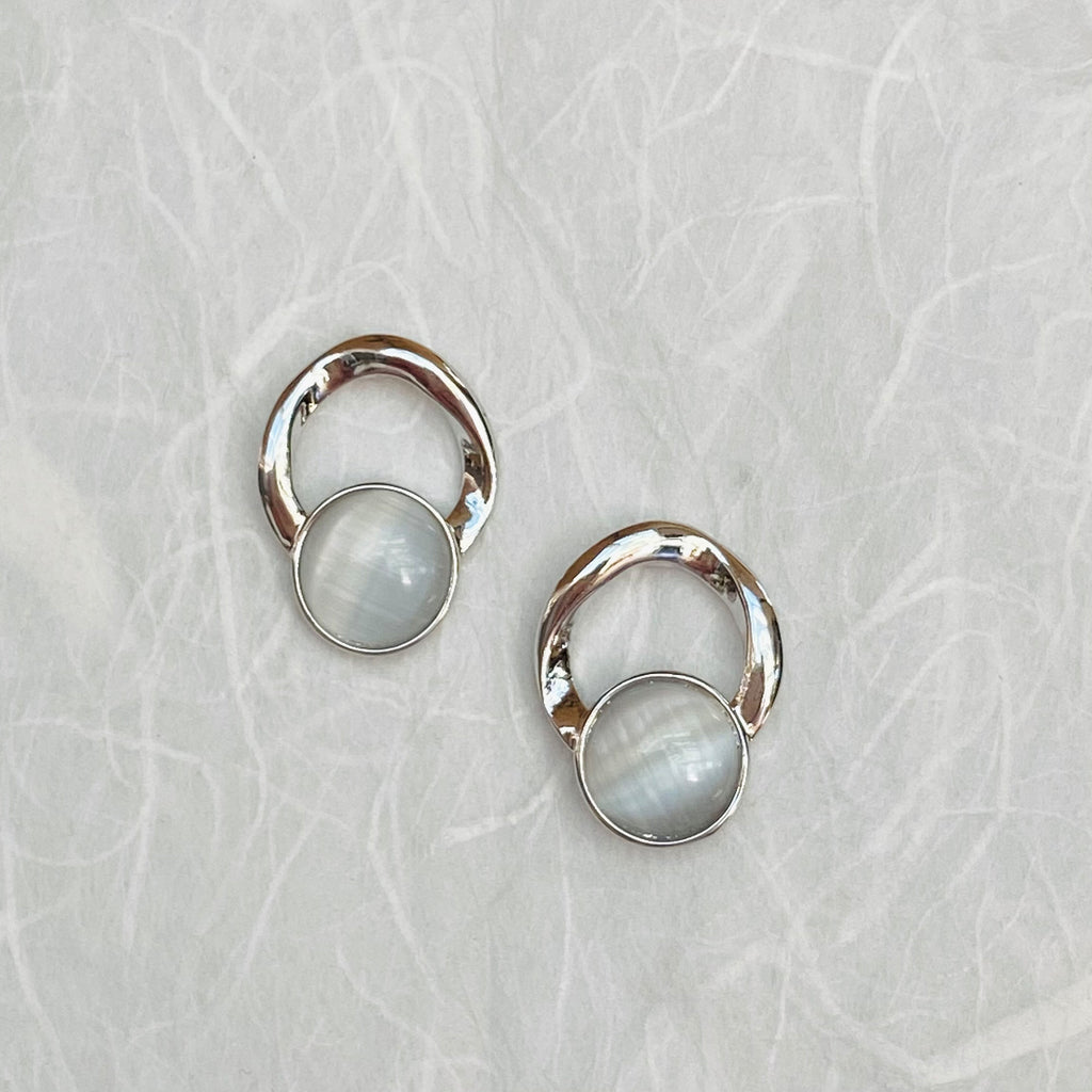 Platinum Plated and Moonstone Earrings