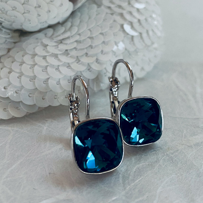 Platinum Plated & Sapphire Crystal Earrings