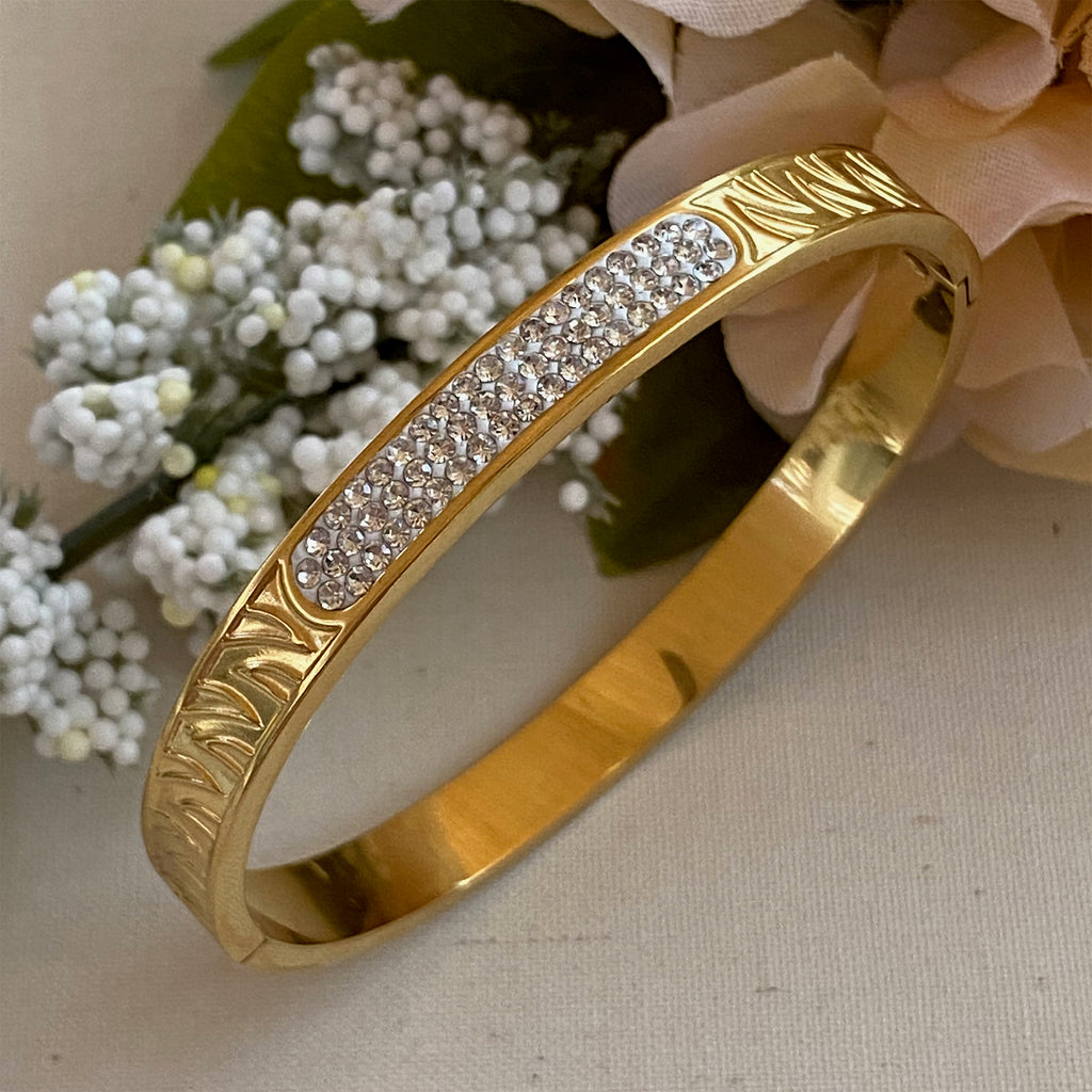 Gold Plated Stainless Steel  & Cubic Zirconia Bangle