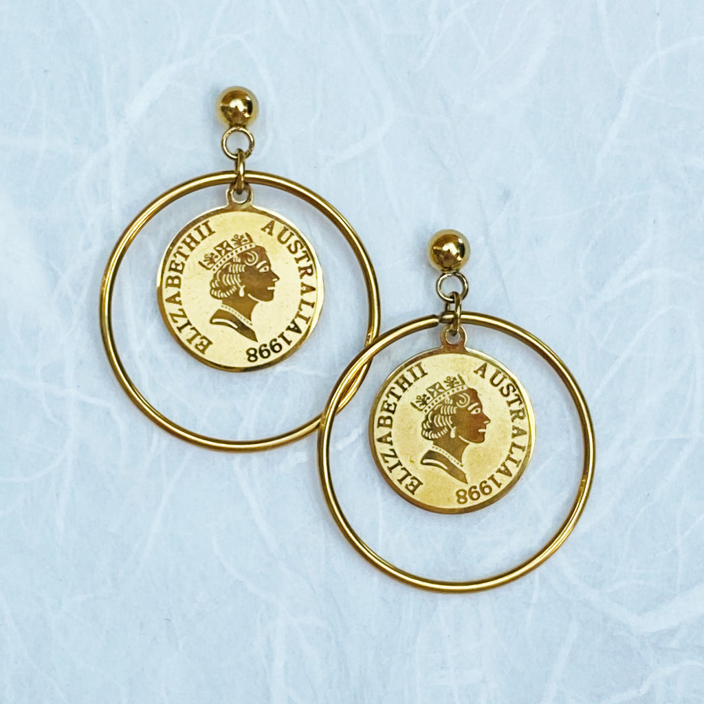 Gold Plated Stainless Steel Coin & Hoop Earrings