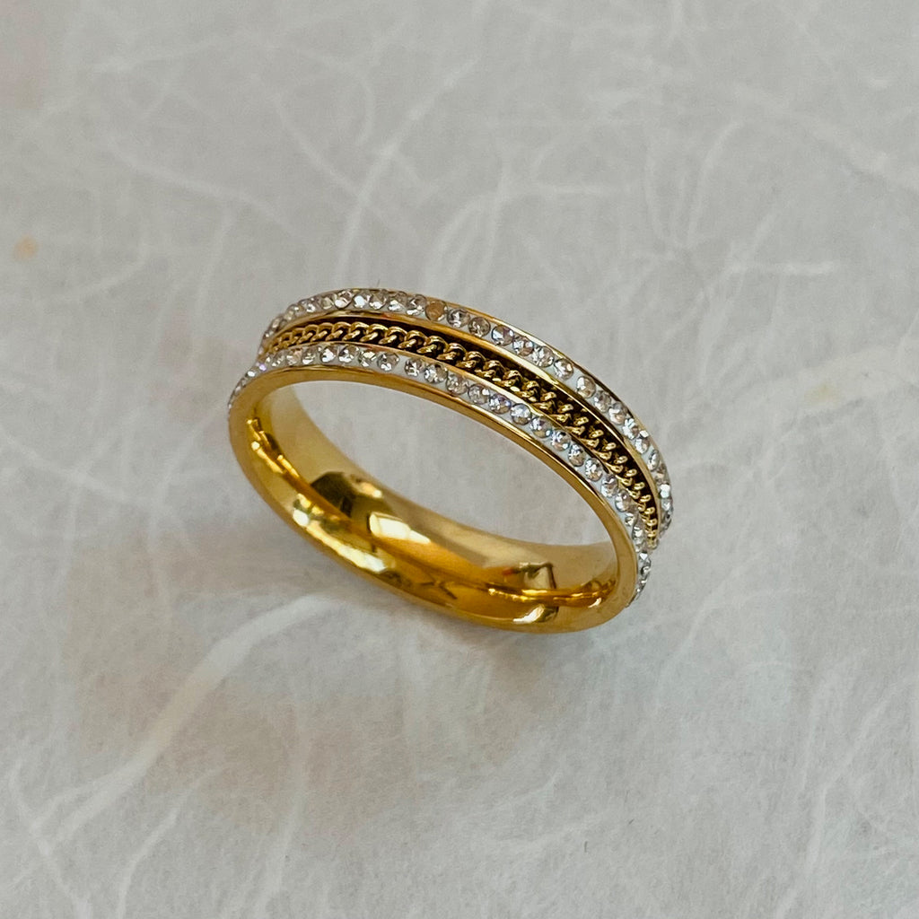 Gold Plated Stainless Steel & Cubic Zirconia Ring