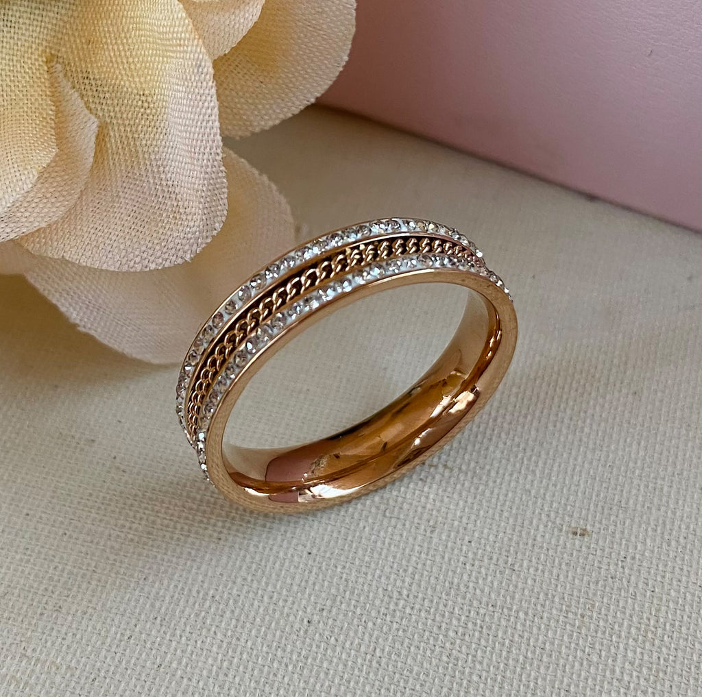 Rose Gold Plated Stainless Steel & Cubic Zirconia Ring