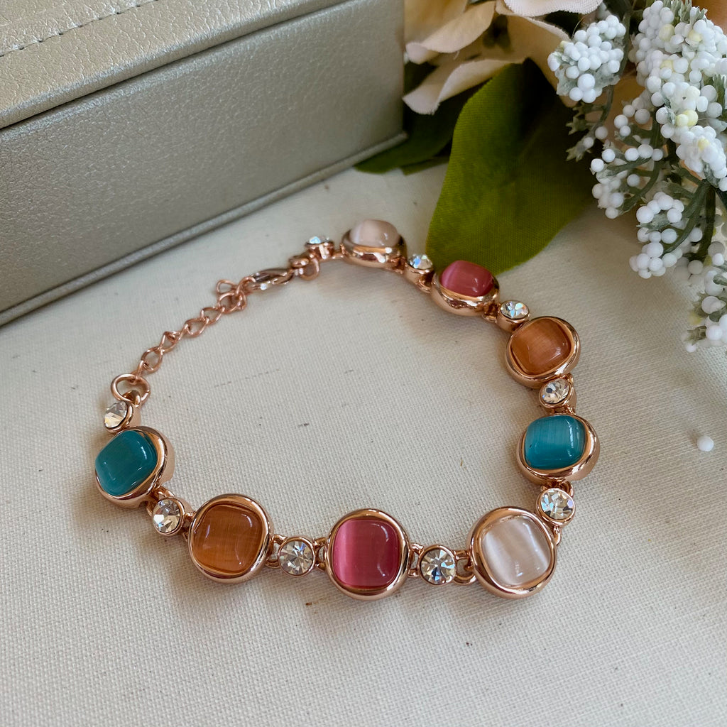 Rose Gold Coloured Stone Bracelet with Cubic Zirconia