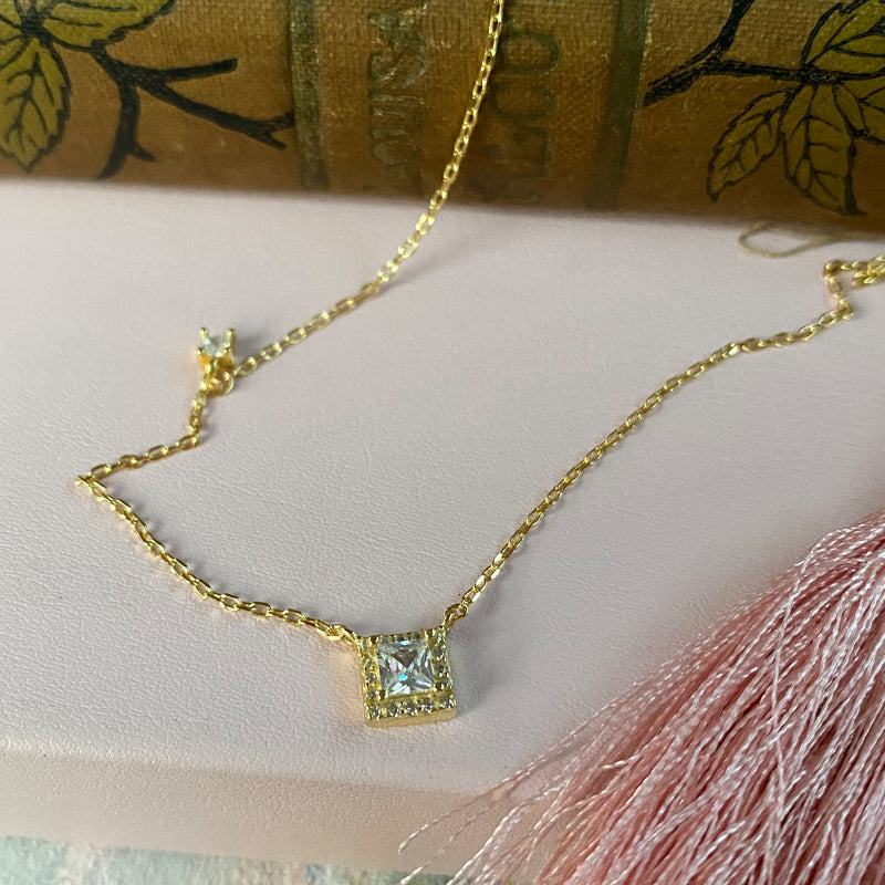 Gold Plated Sterling Silver & Crystal Necklace