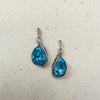 Platinum Plated Aquamarine Crystal Pendant & Earring Set