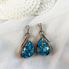 Platinum Plated Aquamarine Crystal Earrings