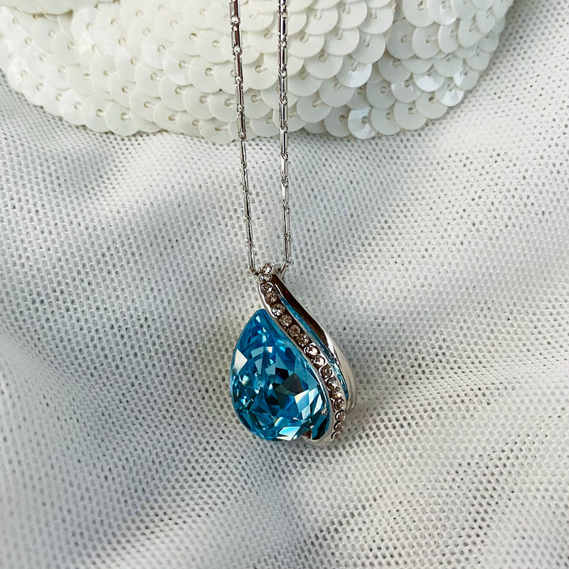Platinum Plated Aquamarine Crystal Pendant
