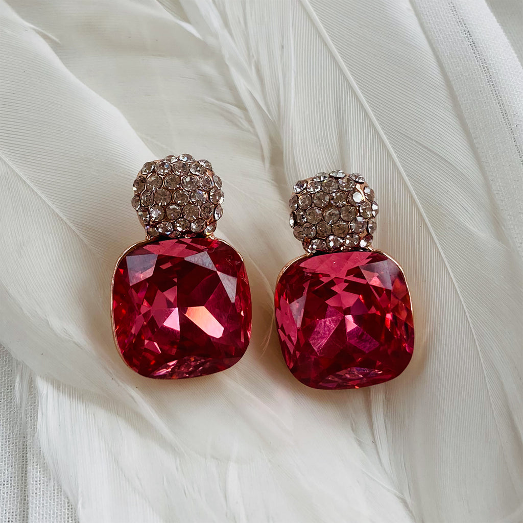 Rose Gold Plated Deep Pink Cubic Zirconia Earrings