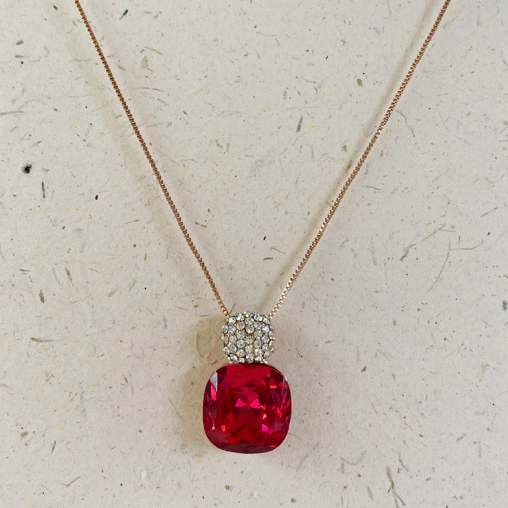 Rose Gold Plated Deep Pink Cubic Zirconia Pendant