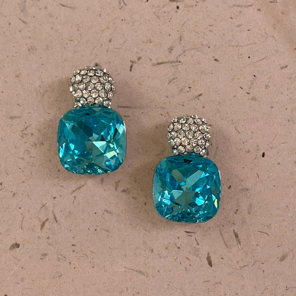 Platinum Plated Aquamarine Cubic Zirconia Earrings