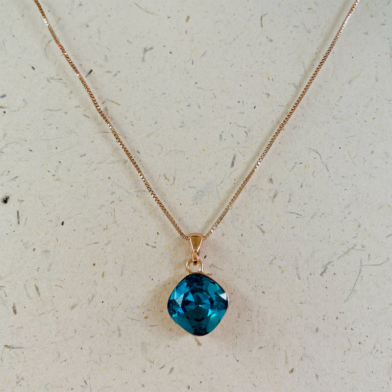 Rose Gold Plated Aqua Cubic Zirconia Pendant