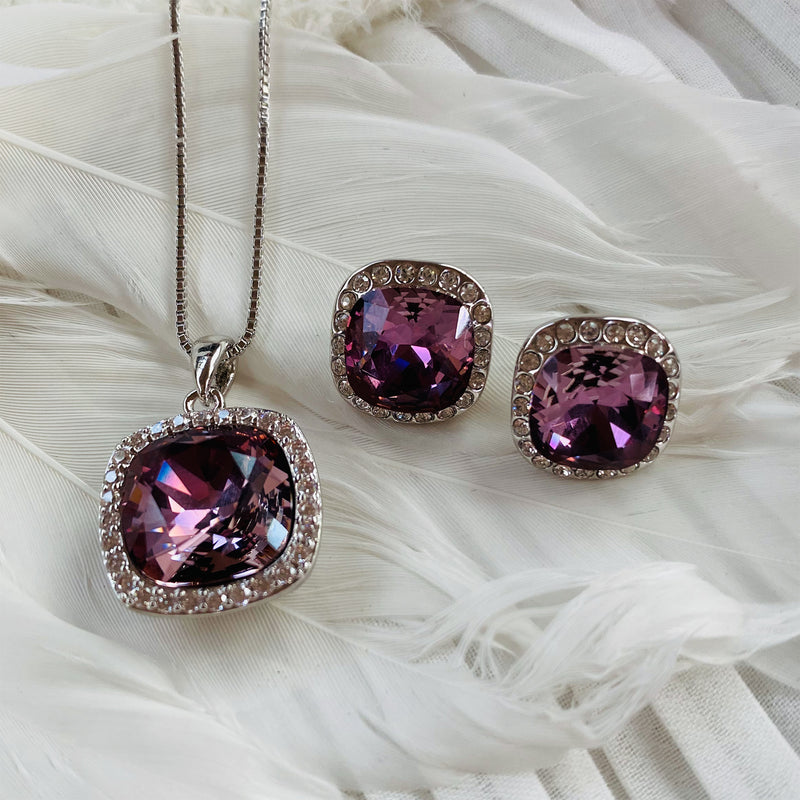 Platinum Plated Burgundy Swarovski Crystal Earring and Pendant Set