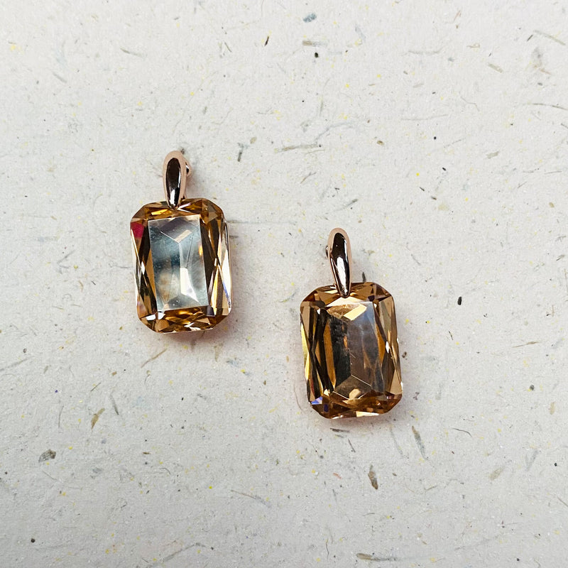Rose Gold and Topaz Crystal Earrings