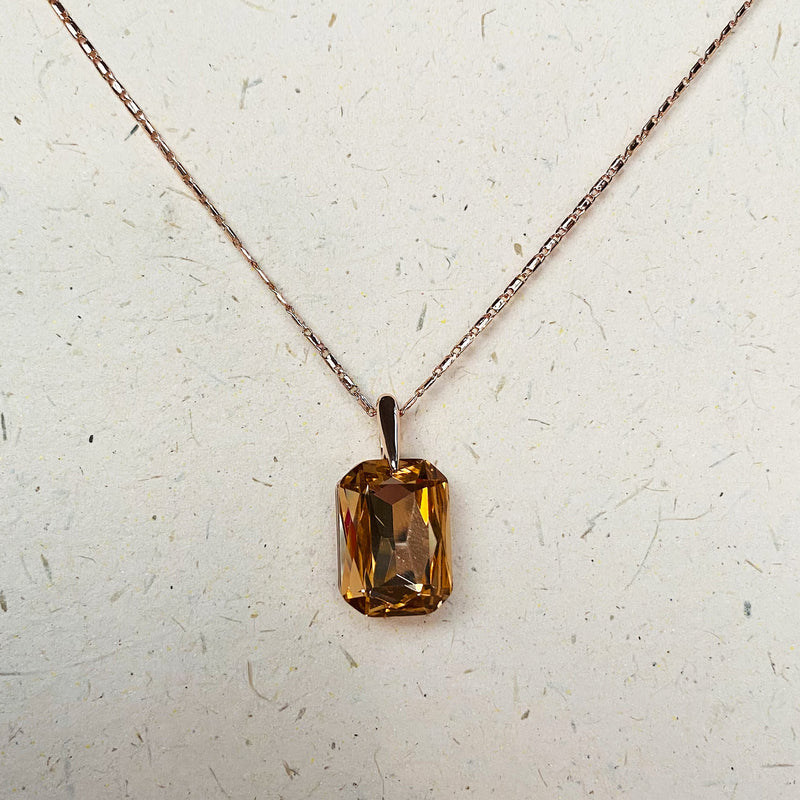 Rose Gold and Topaz Crystal Pendant