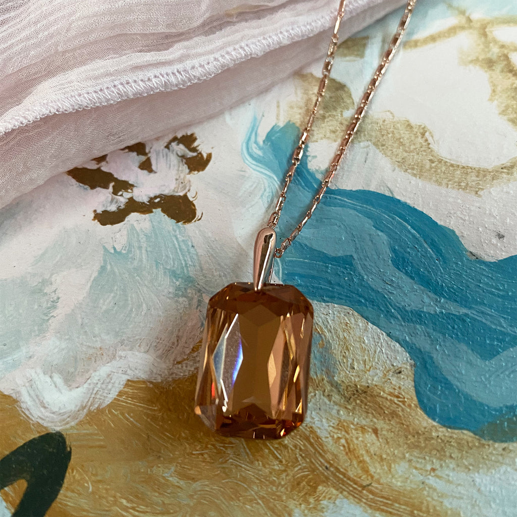 Rose Gold and Topaz Crystal Pendant & Earring Set