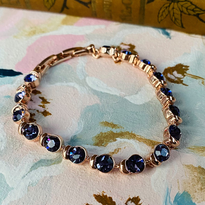 Rose Gold Plated Stainless Steel Bracelet with Purple Cubic Zirconia