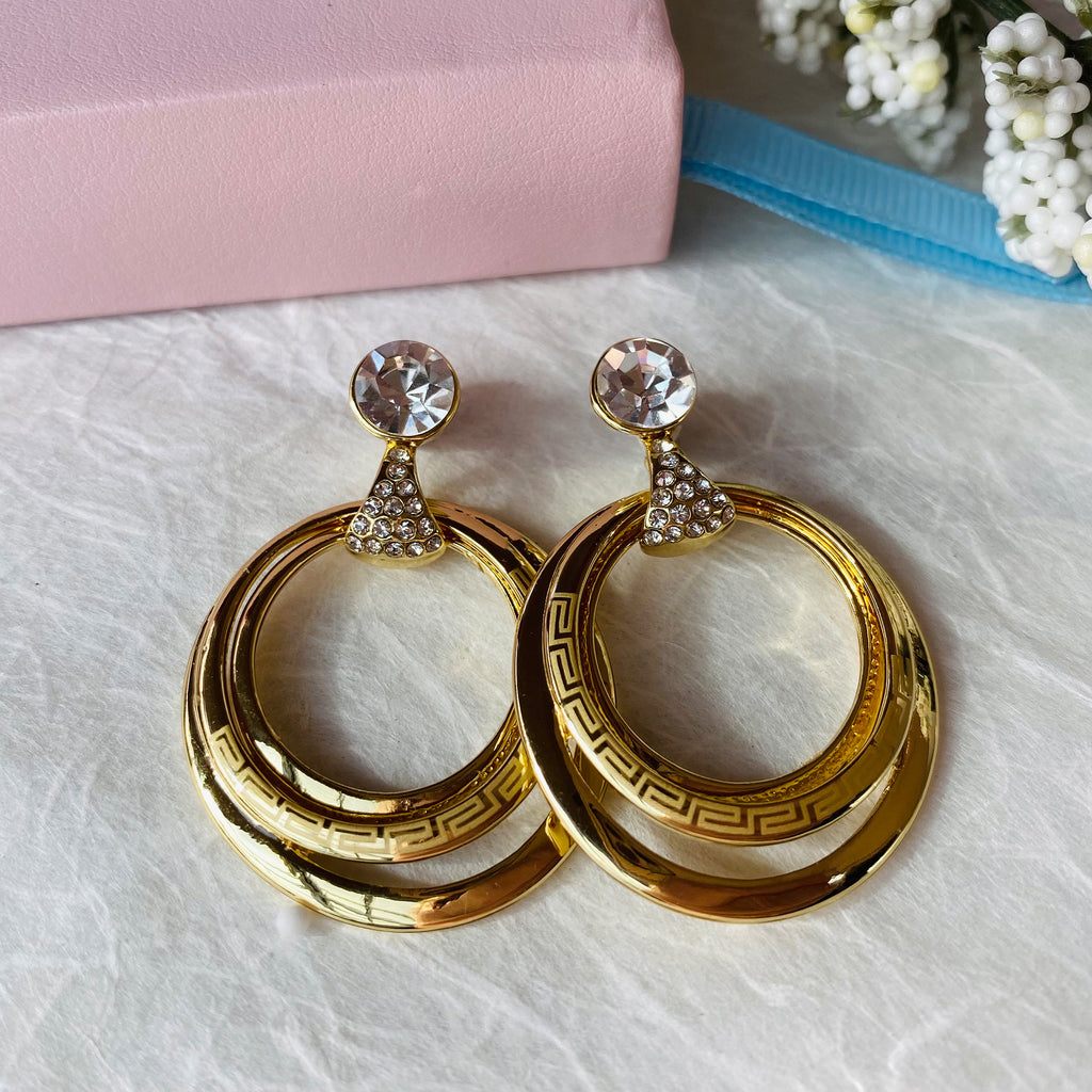 Gold Plated Stainless Steel Cubic Zirconia Earrings