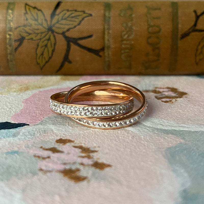Rose Gold Plated Stainless Steel Crystal Ring