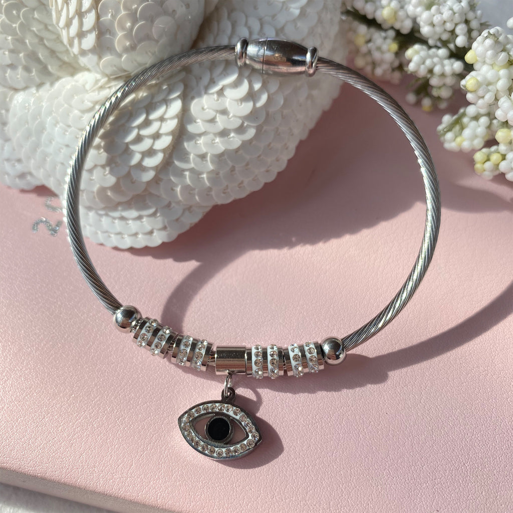 Stainless Steel Bangle with Cubic Zirconia Evil Eye