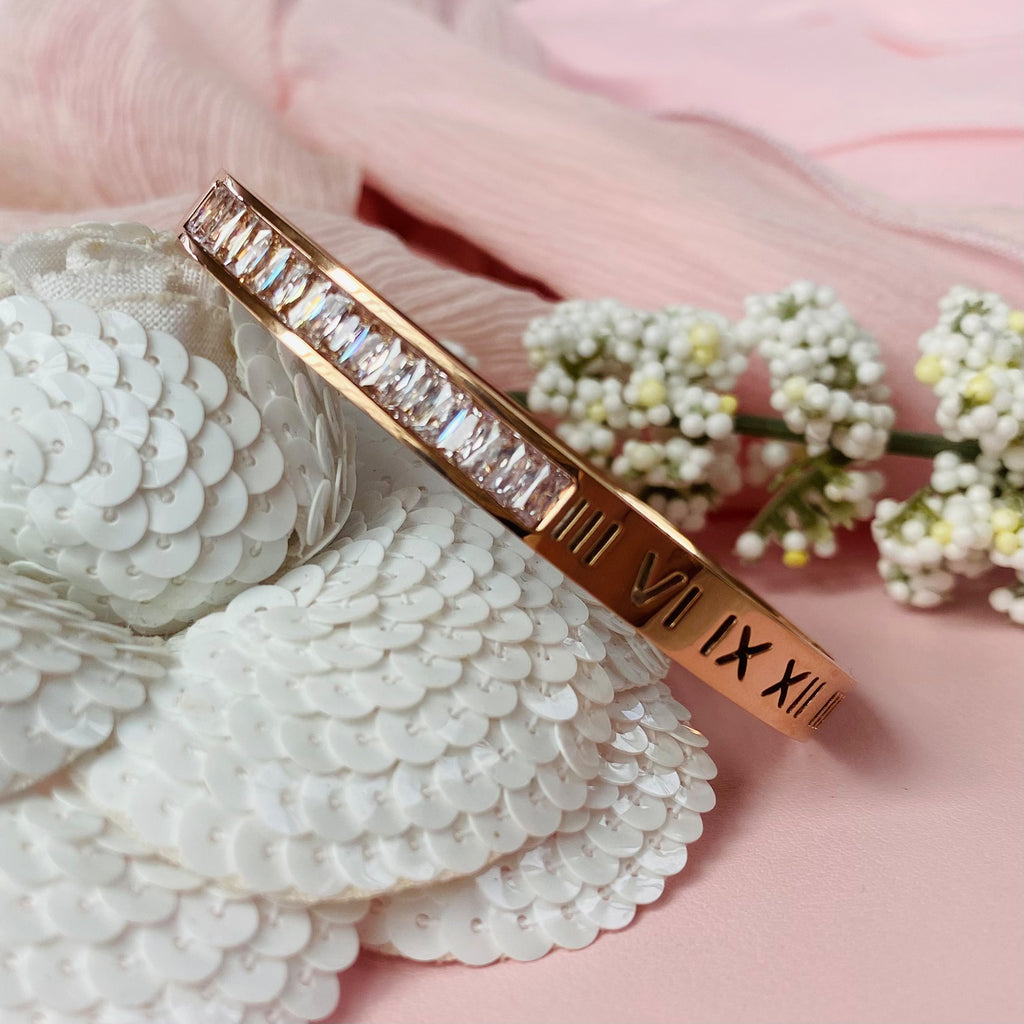 Rose Gold Plated Stainless Steel and Crystal Bangle
