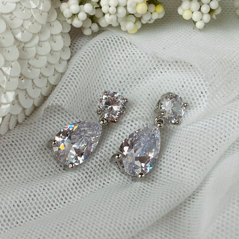 Platinum Plated Cubic Zirconia Drop Earrings