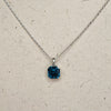 Platinum plated Blue Swarovski Crystal Pendant