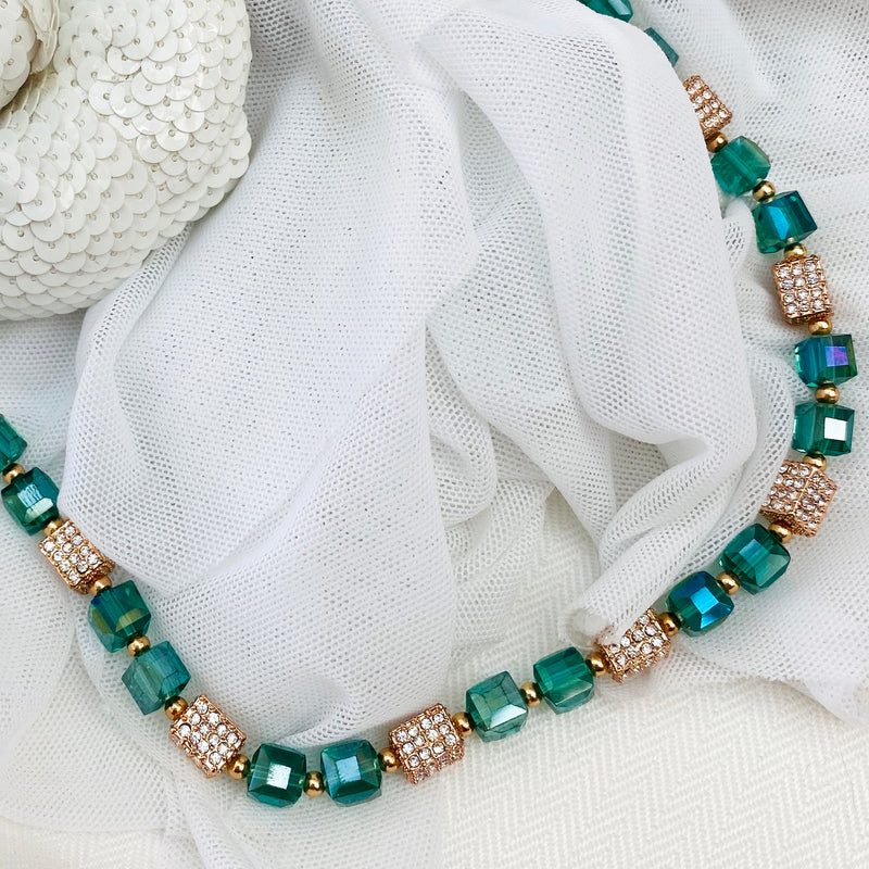 Platinum Plated Rose Gold & Teal Crystal Necklace