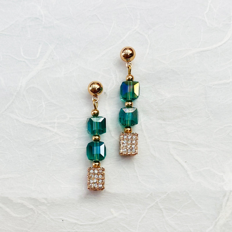 Platinum Plated Rose Gold & Teal Crystal Earrings